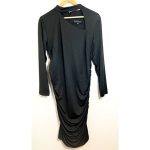 Eloquii Black Long Sleeved Ruched Dress